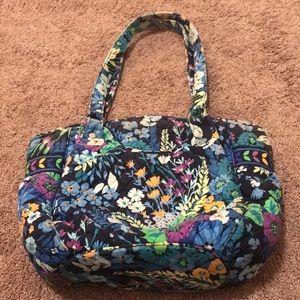 Vera Bradley black and blue floral zip up purse